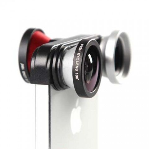 A 4-in-1 fish-eye, macro, wide-angle & front-facing fish-eye camera lens for iPhone 5/5s.