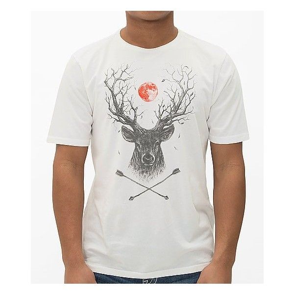 Kane & Unke Deer Tree T-Shirt ($27) ❤ liked on Polyvore featuring men's fashion, men's clothing, men's shirts, men's t-shirts, white, mens white shirt, mens graphic t shirts and mens white t shirts