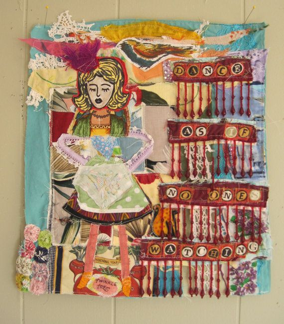 My Bonny - twinkle toes dance - Original Fabric Collage - Recycled Patchwork Quilt Materials -  Outsider Folk Art