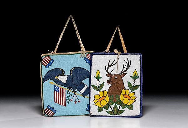 "http://www.icollector.com/Plateau-Beaded-Hide-Bags_i8476704 mid 20th century lot of 2, including a patriotic bag beaded with a Bald Eagle carrying an American flag; lined with patterned cotton, length 12"" x 10.5""; AND a bag with an elk peeking from behind flowers; backed with purple velveteen, length 11.5"" x width 9.75""."