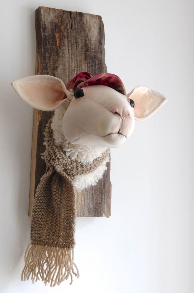 Lamb in hat and scarf. Faux taxidermy fabric sculpture. Animal textile trophy.