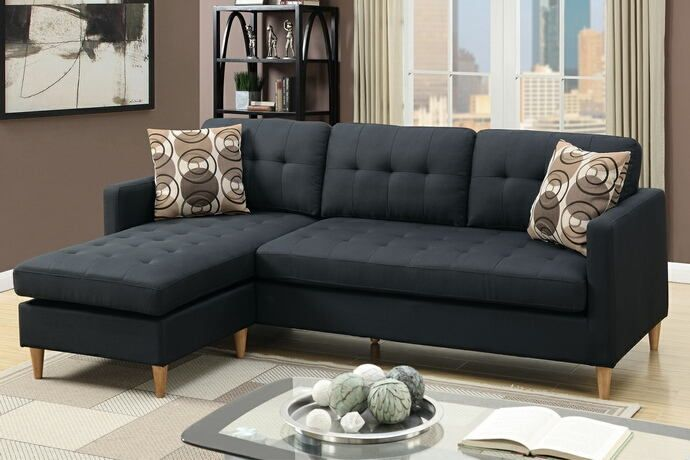 Poundex F7084 2 Pc Leta Black Polyfiber Fabric Apartment Size