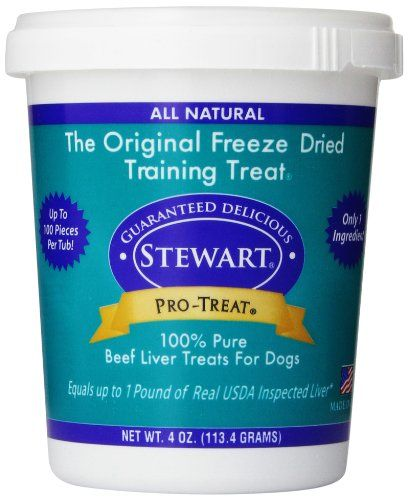 Stewart Freeze Dried Treats 4 oz Beef Liver - Stewart Pro-Treat beef liver for dogs is an all natural dog treat made with 100% freeze dried liver. With just one single ingredient, Pro-Treat is a gluten-free, grain free dog treat packed full of lean protein and beef liver nutrition. Considered a high value reward, Stewart freeze dried liver h...