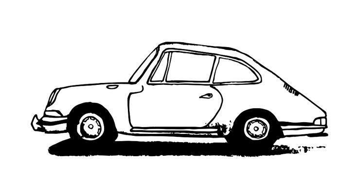 Porsche, illustration digitized.