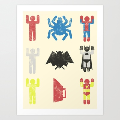 super heroic minimalism Art Print by Jonah Block - $18.00