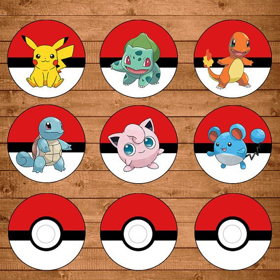 Pokemon Cupcake Toppers Red & White - Pokemon Stickers - Pokemon Party…
