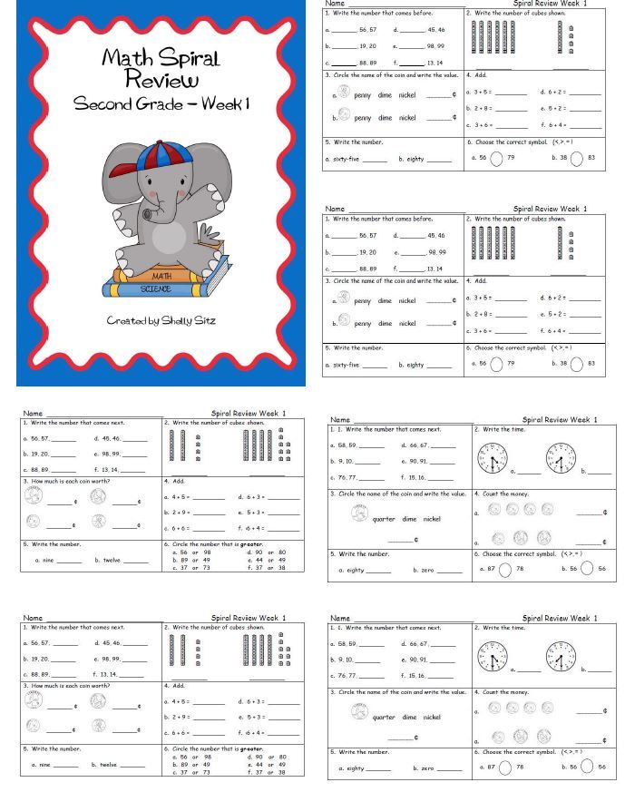 Second Grade Math Spiral review---great for morning work practice for 2nd grade--FREE math printables for second grade