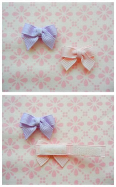 Bows with Velcro closure. Good idea for teeny babies
