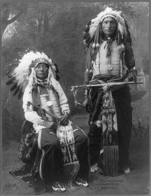 Sioux warriors, 1900