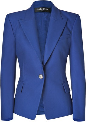 BALMAIN Gipsy Blue One Button Stretch Cotton Blazer - Polyvore
