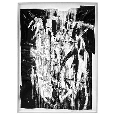 """""""Release"""", mixed media abstract painting and drawing on black glazed python skin by New York City artist Jake Blake in his signature, strict palette of black and white, combining bold brush strokes, heavy layering, and deft, elegant drawing to create depth. #abstract #art #painting #snakeskin #blackandwhite"""