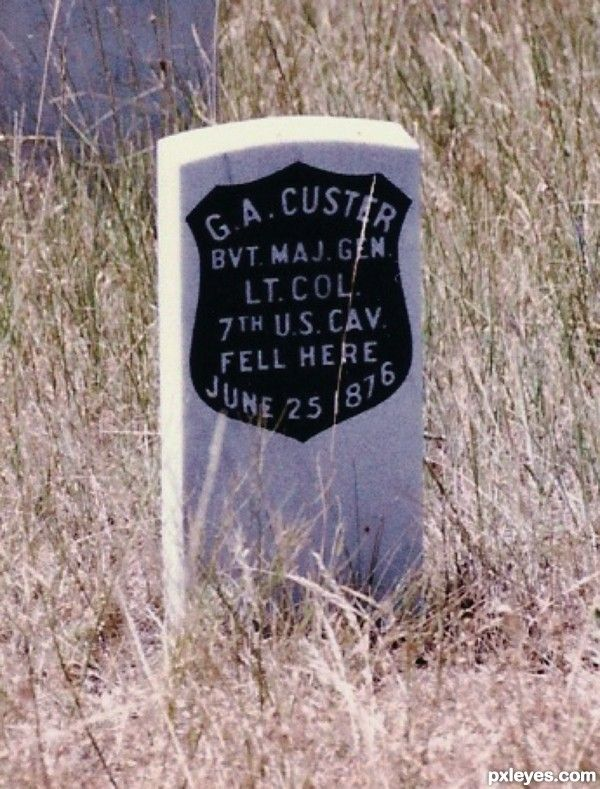 Marker on the battleground of Little Big Horn where G A Custer's body was found.