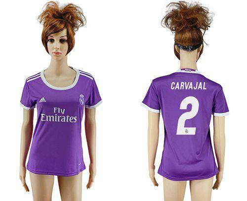 Women's Real Madrid #2 Carvajal Away Soccer Club Jersey