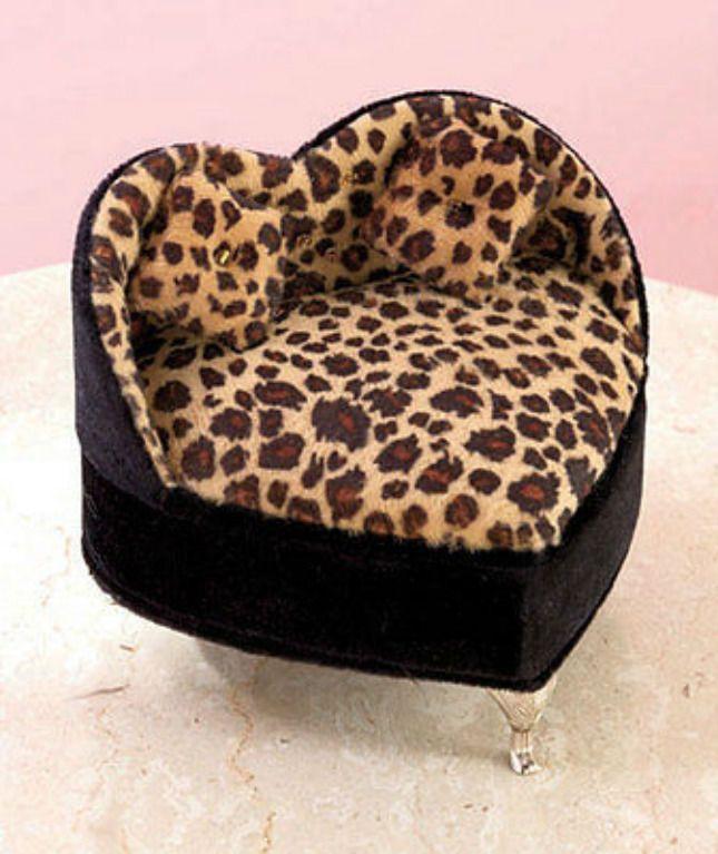 Leopard Cheetah Animal Print Heart Shape Couch Jewelry Box