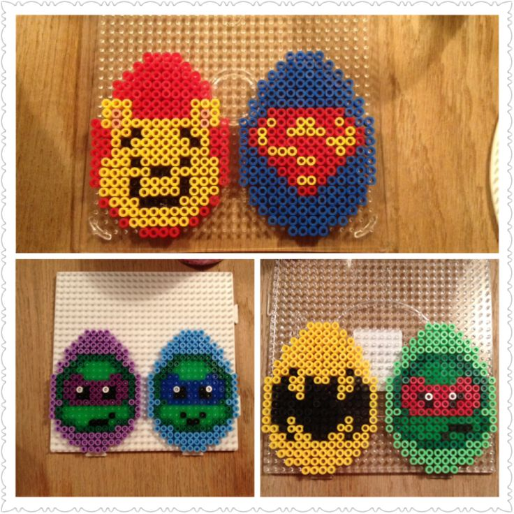 Easter eggs made with hama beads of Winnie the pooh, Batman, Superman and TMNT