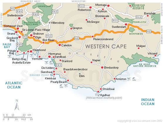 Map of the Overberg