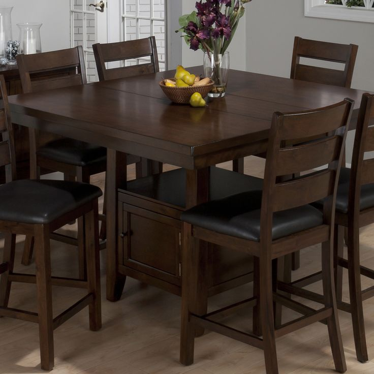Jofran 337 54 Taylor 7 Piece Butterfly Leaf Counter Height Table Set W Storage Base