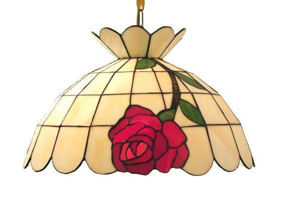 """16,5"""" lampada a sospensione in stile Tiffany. Lampada da soffitto di vetro fatti a mano. Paralume di vetro colorato appeso."""