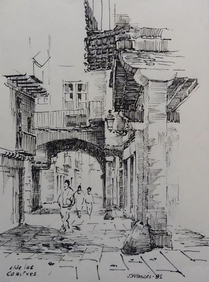 Carrer de les Caputxes, Barcelona. Tinta, Joaquim Francés.