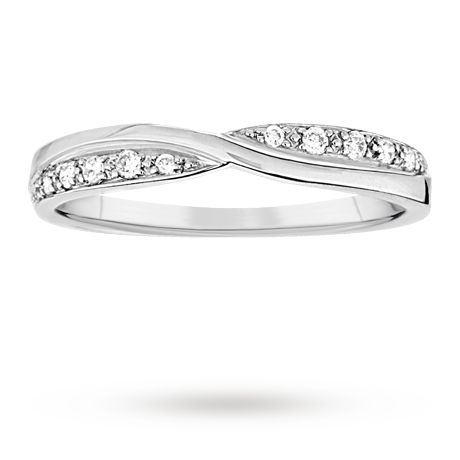 Ladies 3mm platinum 0.10 total carat weight diamond set kiss wedding ring. | Wedding Rings | Jewellery | Goldsmiths £850