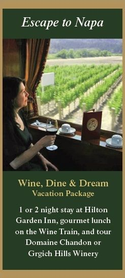 Wine, Dine and Dream on the Napa Valley Wine Train's vacation packages.