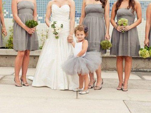 Flower girl wears a tutu -- I'm so in love with this idea!Flower Girls Dresses, Little Girls, Flower Girls Tutu, Bridesmaid Dresses, Little Flower, The Dresses, Flower Girl Tutu, Grey Dresses, Girls Outfit