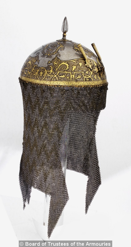 Helmet (top) with skull and crossbone motif. Indian, Gwalior, late 18th century