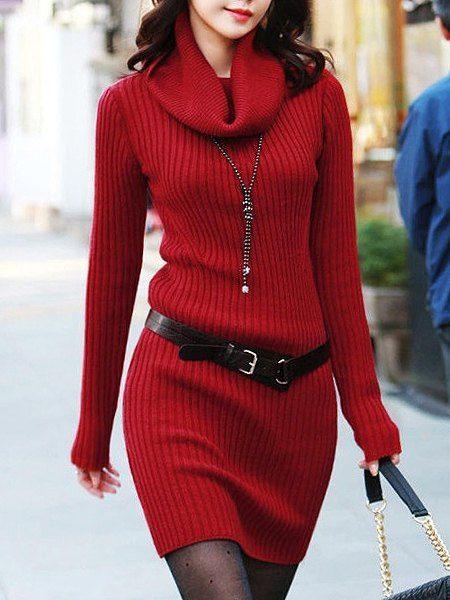 Turtleneck Solid Color Long Sleeves Belt Stylish Sweater Dress For Women