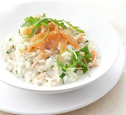 Smoked salmon & lemon risotto I ADDED CORGETTES , when onions were almost cooked, it was very tasty!