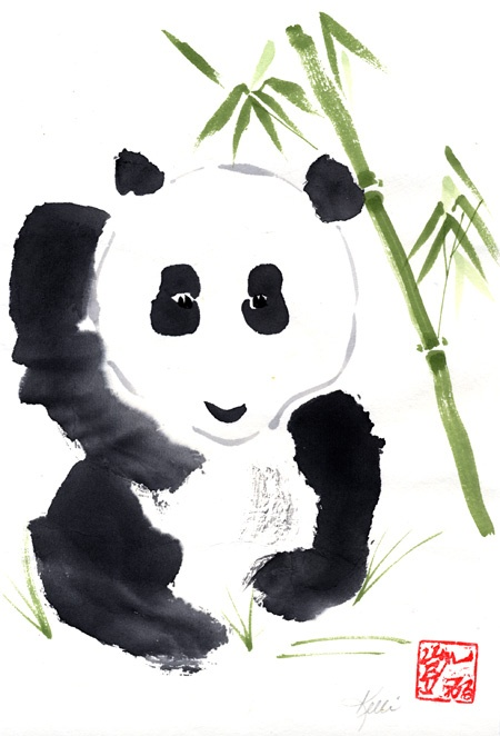 panda brush painting