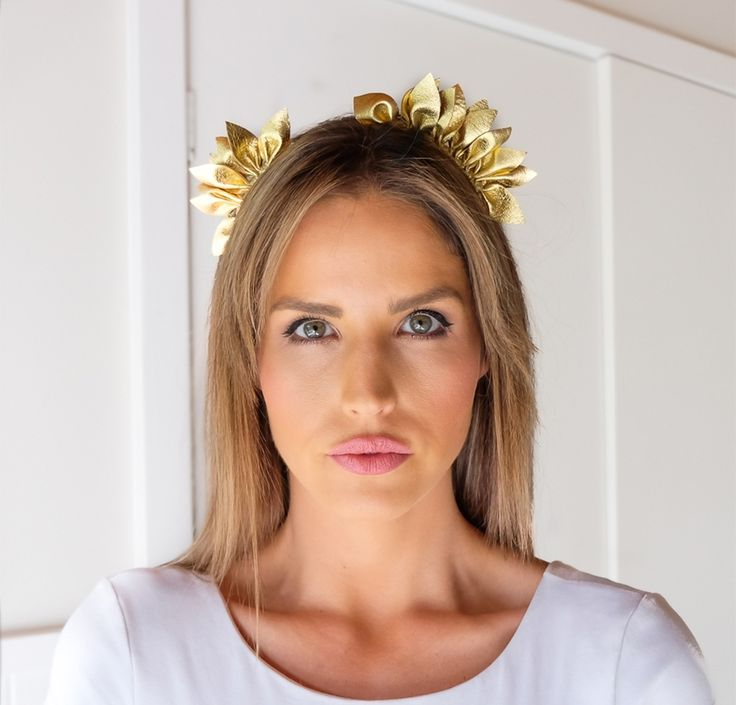 MINT AND MELON LEATHER HEADPIECE GOLD- Eclipse Spring Races 2017