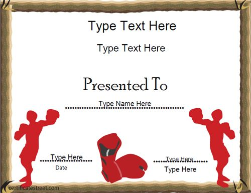 34 best sports certificates awards images on pinterest life sports certificate boxing award template certificatestreet yadclub Image collections