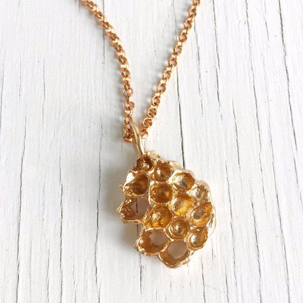 Honeycomb Necklace in Golden Bronze