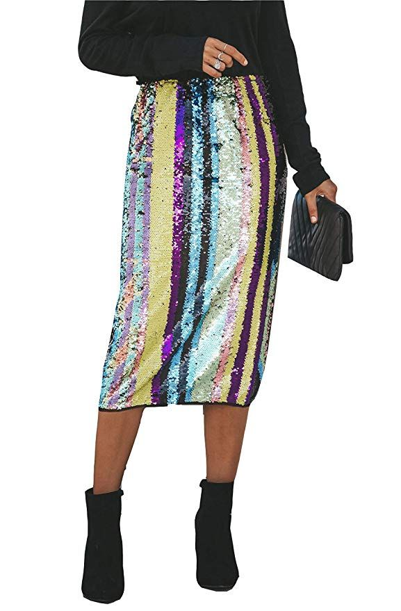 67d875bfd Rainbow Striped Sequin Skirt #holidaystyle #sequin #newyearseve. MarcoJudy  Womens Rainbow Striped Tie Dye High Waist Bodycon Midi Pencil Skirt at  Amazon ...