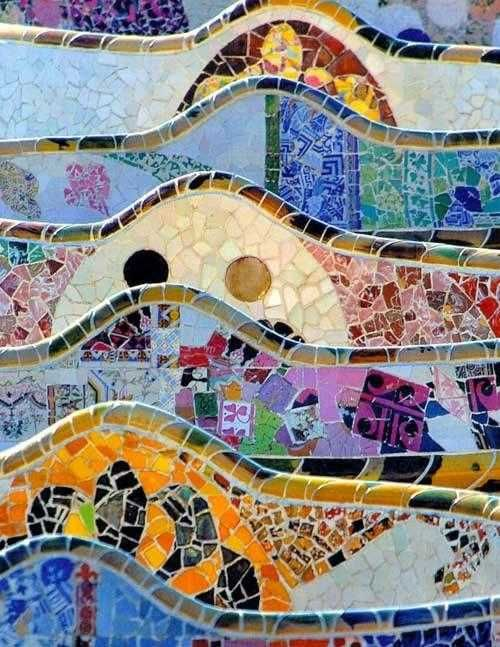 detail of mosaic tiles from Parc Güell