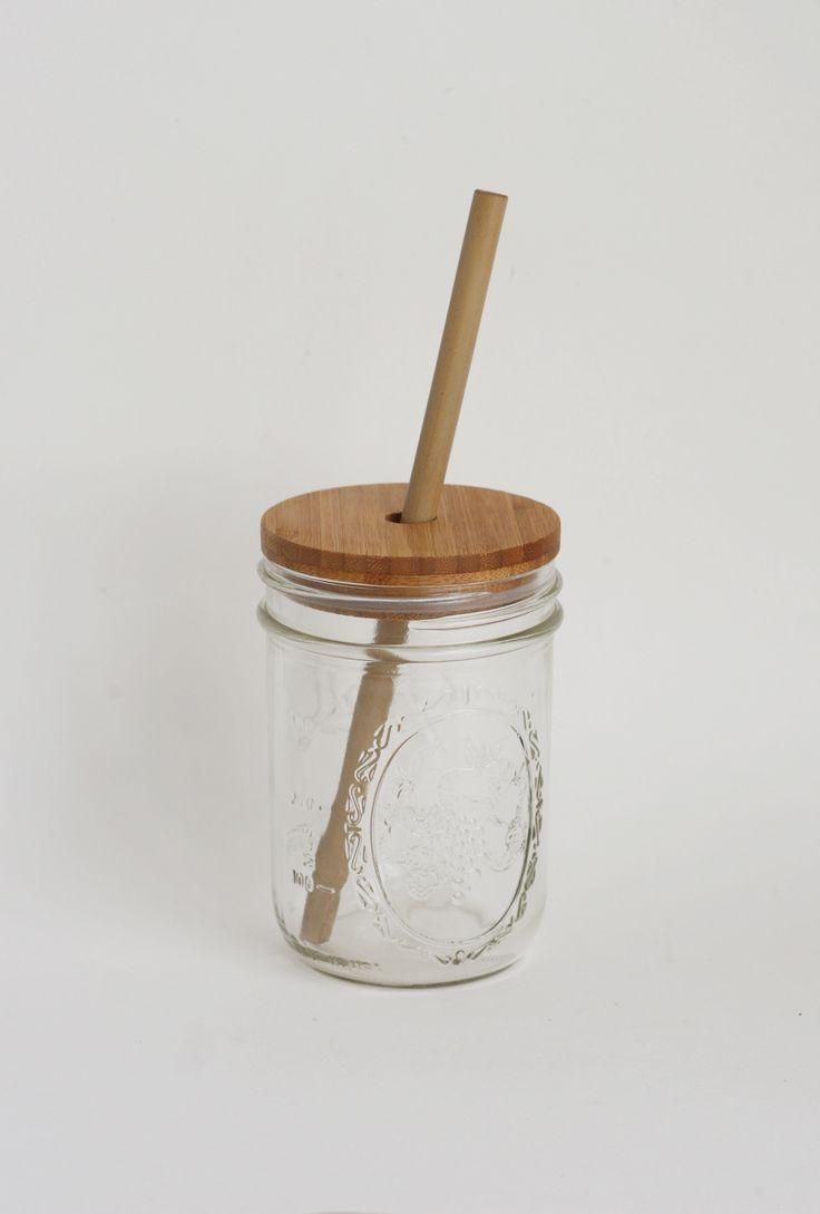 Bamboo Mason Jar Lid and Straw $16