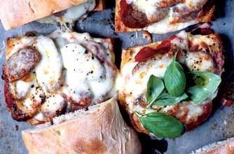 Bill Granger's sausage, tomato and mozzarella melt
