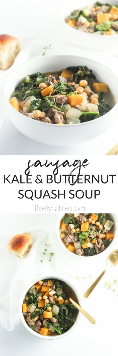 This easy and healthy Sausage, Kale and Butternut Squash Soup with chickpeas is a quick and cozy meal for cool #fall nights. (#glutenfree, #dairyfree) | #soup #butternutsquash | via livelytable.com