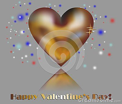 An isolated golden heart between colorful lights and happy valentine's day wishes on light blue background.