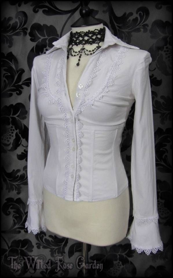Romantic Goth White Lace Trimmed Boned Corset Top 8 Victorian Lolita Gothic | THE WILTED ROSE GARDEN on eBay // Worldwide Shipping Available