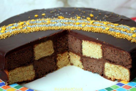 Gâteau damier, sans moule spécial http://roseandcook.canalblog.com/archives/2011/06/16/21413924.html