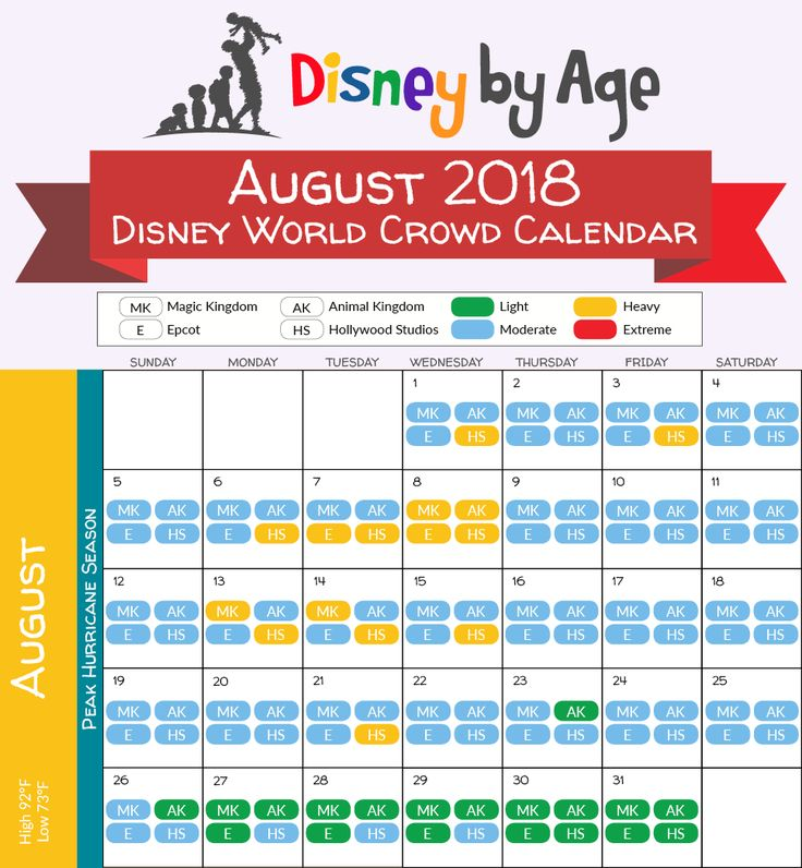 August 2018 disney crowd calendar