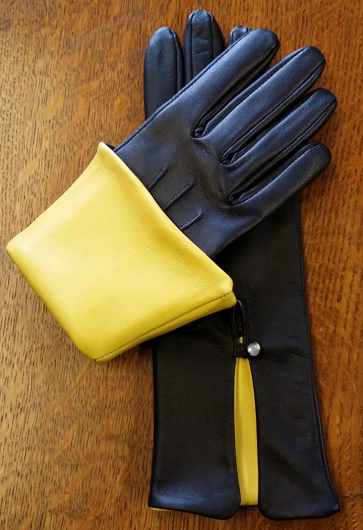 Leather driving gloves vancouver - The Rose Style Finished In Black With Yellow Cuff Leather Glovescuffs