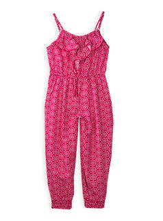 Girlswear Tile Print Playsuit Fuchsia Rose dungaree