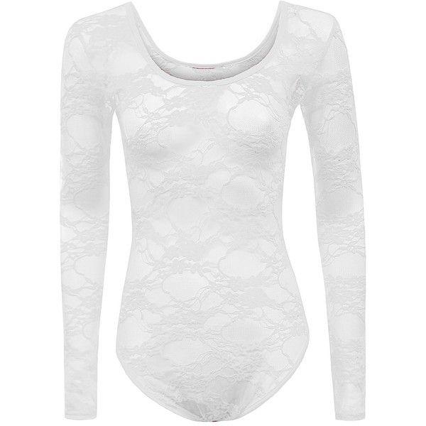 Ladies Long Sleeve Mesh Insert Lace Flower Print Leotard Bodysuit Top ($6.99) ❤ liked on Polyvore featuring tops, white bodysuit top, long sleeve body suit, floral top, floral lace top and body suit