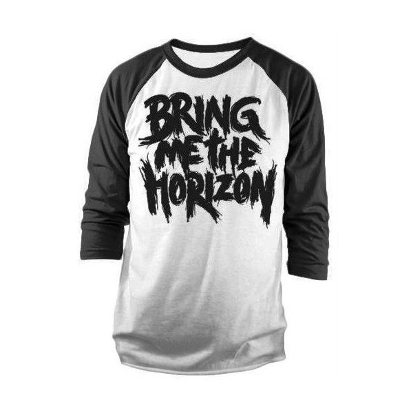 Bring Me The Horizon Logo Raglan Baseball Top S M L XL Long Sleeve... ($13) ❤ liked on Polyvore featuring tops, long sleeve tops, white long sleeve top, raglan top, indie hair and white top