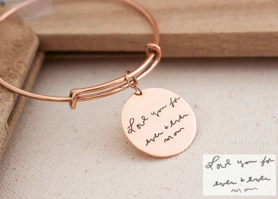♥ NEW DESIGN: Engraved Handwriting Adjustable Bangle with disc charm. ♥ Messages can be engraved on two sizes of the charm with an additional