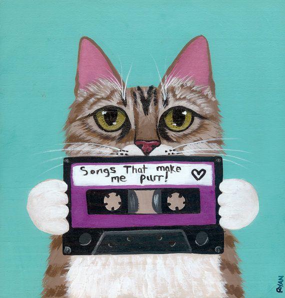 Kitty Made a Mixtape Cat Original Folk Art Painting