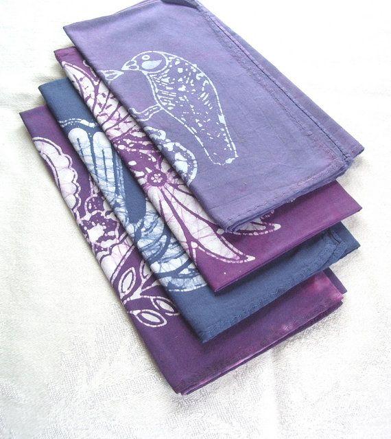 eclectic napkin set purple palette by margotbianca on Etsy, $32.00