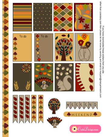 FREE Printable Thanksgiving Planner Stickers for Happy Planner and Erin Condren  by Cutedaisy